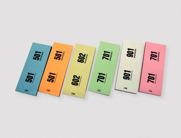 6 farger garderobebillett 2 delt
